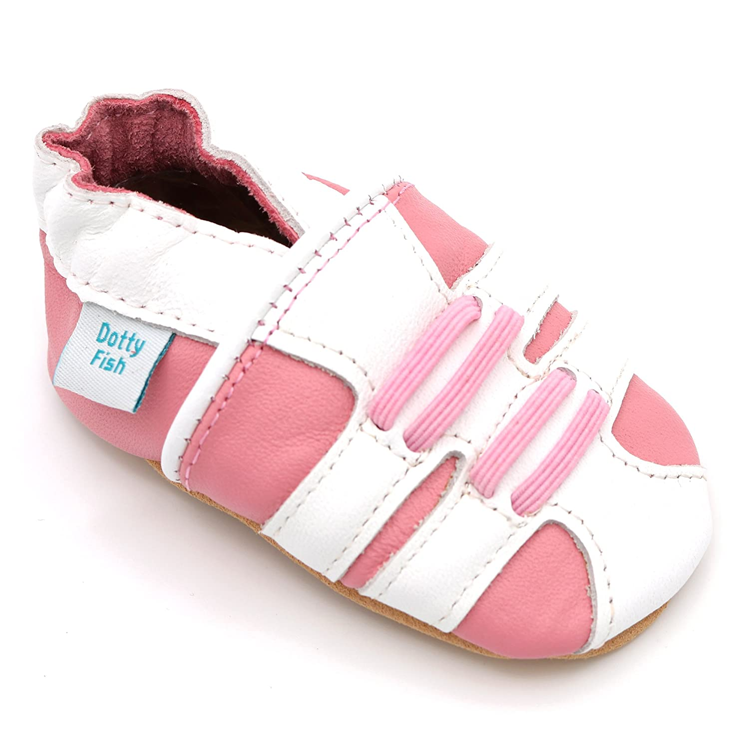 Dotty Fish Soft Leather Baby Shoes. Toddler Shoes. Pretty Pink Hearts, Sporty Trainers Christening Shoes Girls. Newborn to 2-3 Years FBA-COHEARTS-P