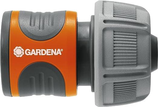 Gardena 18216-20 Conector para el Inicio de la Manguera, hermético, Mango ranurado, Montaje Sencillo, Gris, Naranja, 19 mm (3/4
