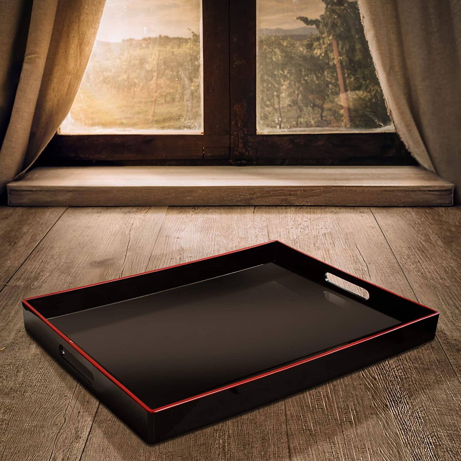 Black 14x19 American Atelier 1270064 Red Rim Rectangle Serving Tray with Handles