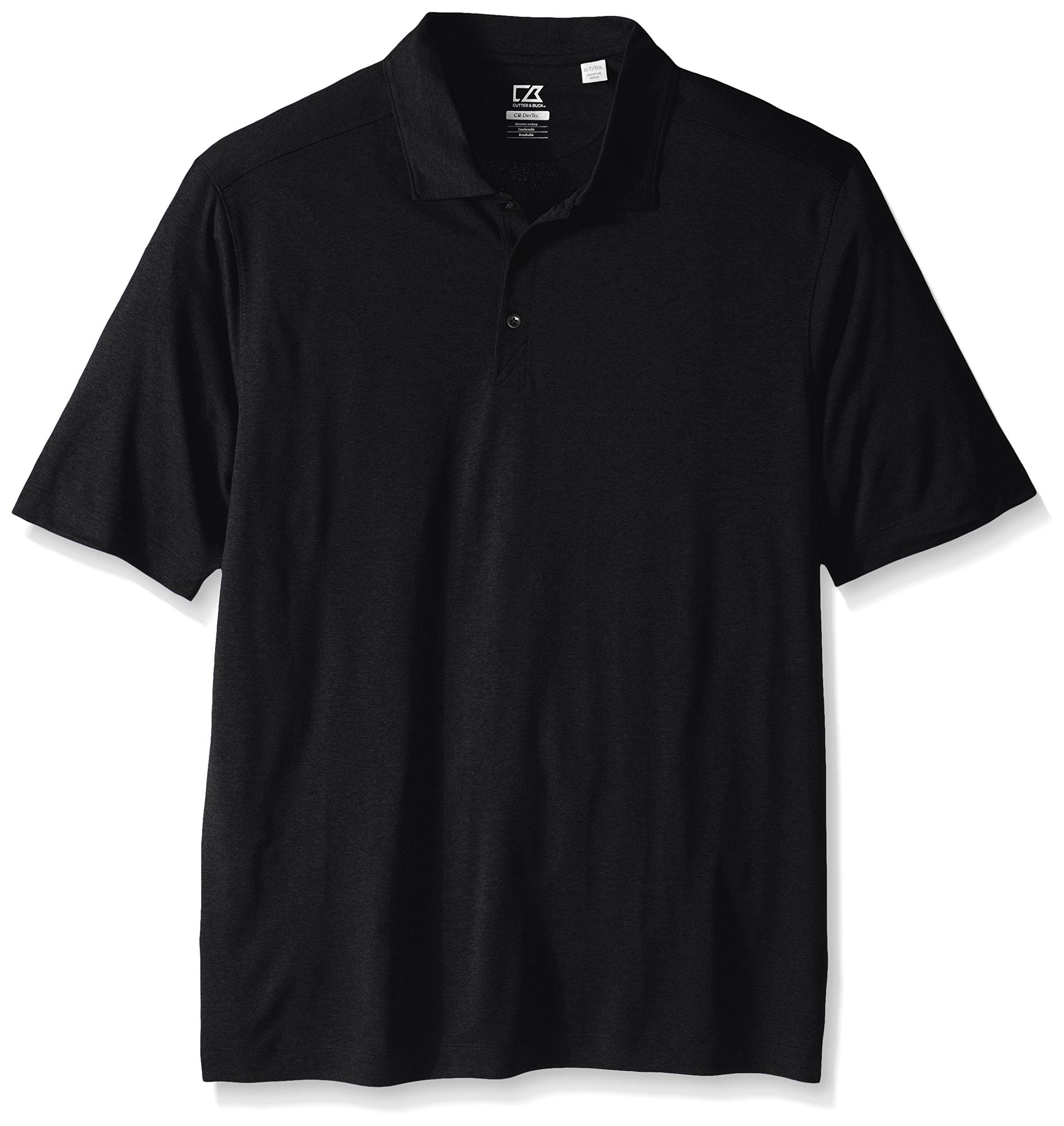 Cutter & Buck Men's Tall Cb Drytec Chelan Polo, Solid Black, 1X/Big