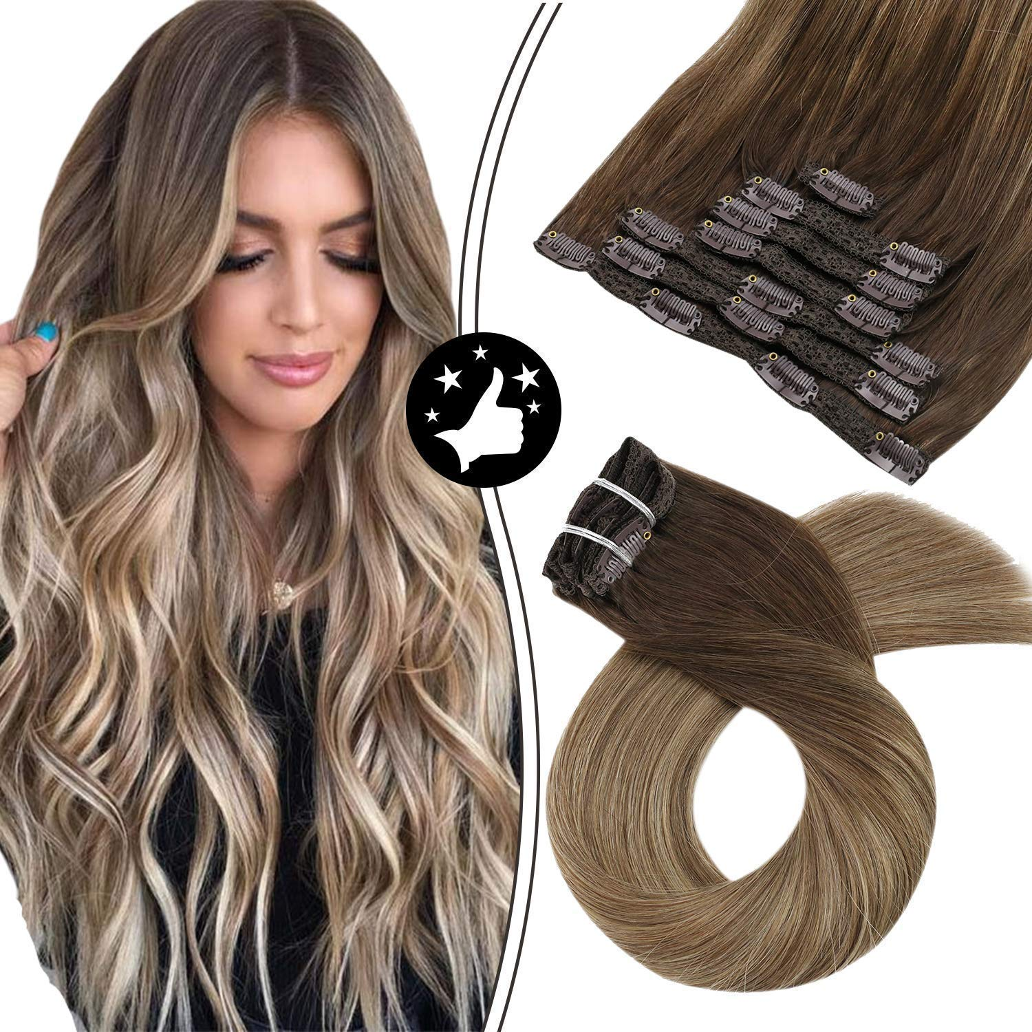 Moresoo 24 Inch Clip Japan Maker New Selling in Hair Extensions Weft Cl Remy Double