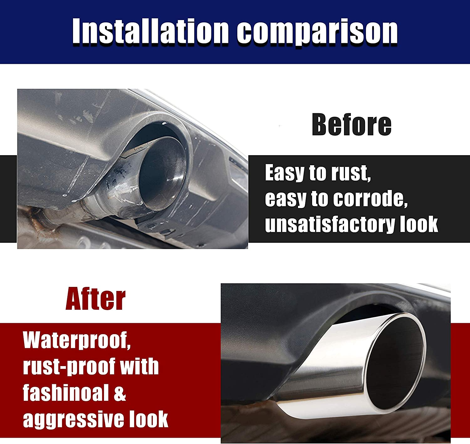 3.5 x 5 x 12 Universal Clamp On Design Stainless Steel Diesel Exhaust Tailpipe Tip for Cars. 3.5 Inch Inlet Chrome Exhaust Tip