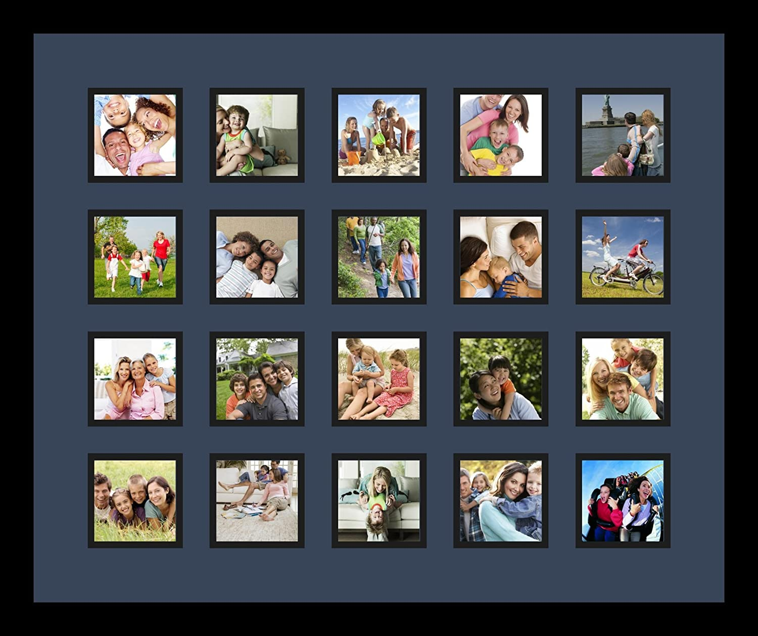 Art to Frames Double-Multimat-1273-837//89-FRBW26079 Collage Photo Frame Double Mat with 20-3.5x3.5 Openings and Satin Black Frame