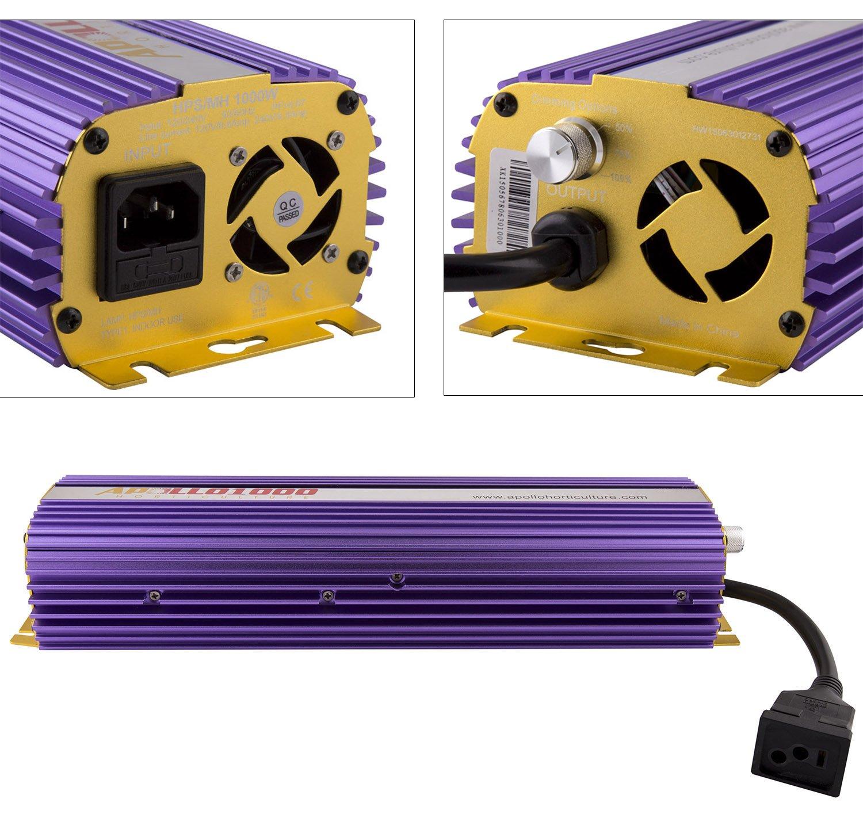 amazoncom apollo apl1000 hydroponic watt hps mh digital dimmable electronic ballast plant growing ballast assemblies garden u0026