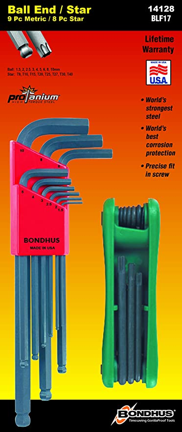 Bondhus Metric Fold-Up Hex Key Allen Wrench Set