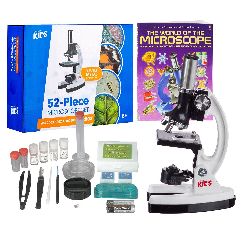 AMSCOPE-KIDS 120X-1200X Starter Kit Metal Arm Children Biological Microscope Kit + Microscope Book