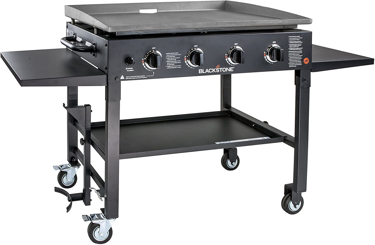 Blackstone Station-4-burner-Propane Fueled-Restaurant Grade-Professional 36 inch Outdoor Flat Top Gas Grill Griddle Station-4-bur