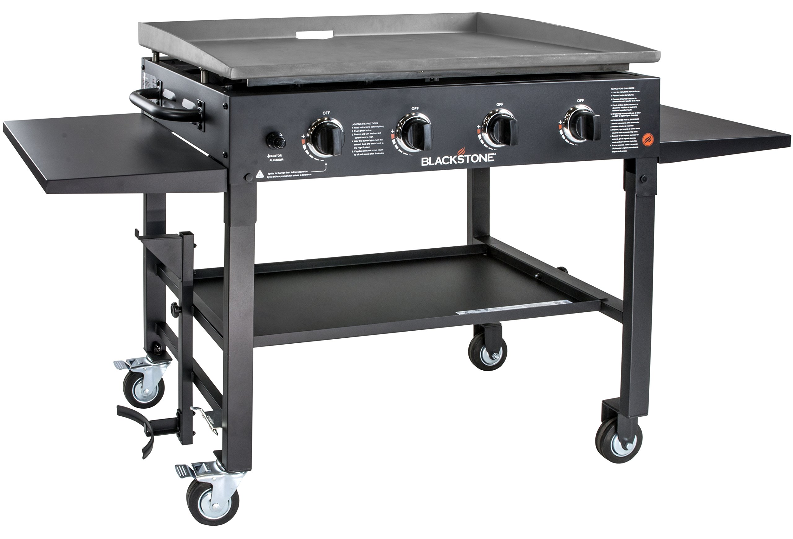 Blackstone 1554 Station-4-burner-Propane Fueled-Restaurant Grade-Professional 36 inch Outdoor Flat Top Gas Griddle Station-4-bur, 36'' - 4 Burner, Grill by Blackstone