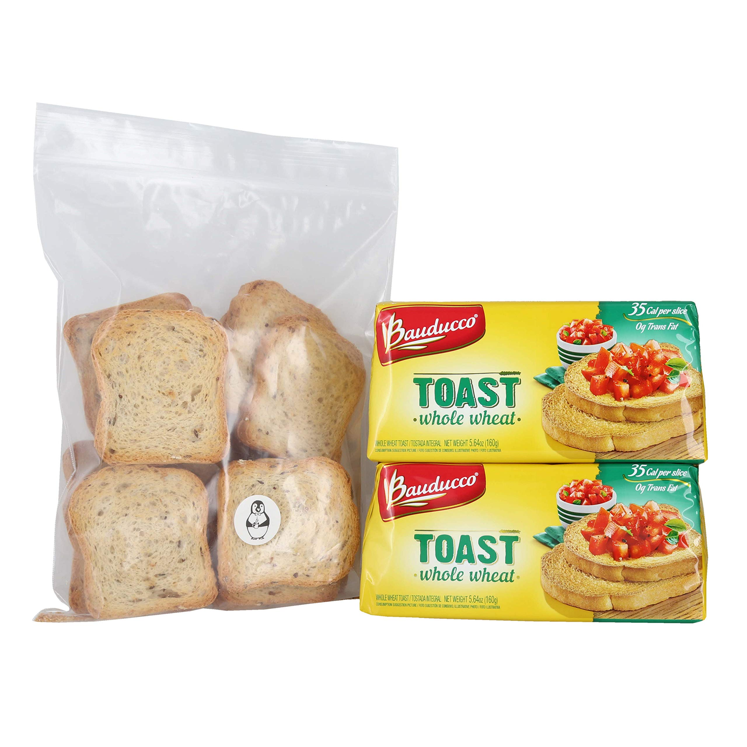 Bauducco Whole Wheat Toast - (2 Pack) W/ Premium Penguin Quick Storage Pouch by Bauducco