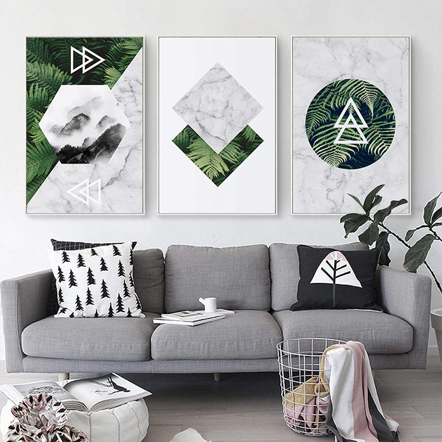 """YQLKC Canvas Paintings Nordic Geometric Green Leaves Landscape Marble Posters and Prints Wall Art Pictures Living Room Decor 15.7""""x23.6""""(40x60cm) 3pcs Frameless"""