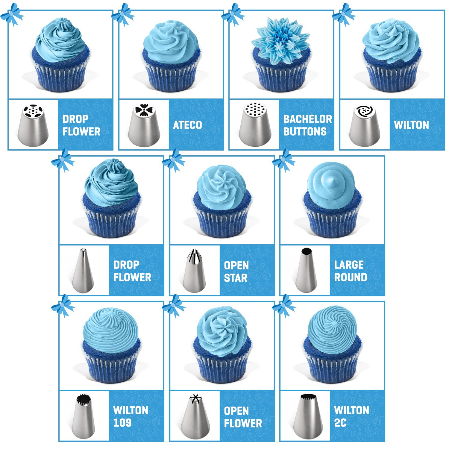 Frostinc Perfectly Assorted Cake Decorating Supplies 34 Pcs Kit - 10 Russian & Cone Icing Tips with 2 Couplers, 2 Reusable & 6 Disposable Piping Bags, 8 Model Tools, Scrapers & BONUS Items by Frostinc (Image #7)