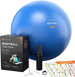 Exercise Ball | Stability Ball for Fitness, Yoga, Pilates, Pregnancy, Birthing or Office Desk Chair - 75cm Extra Thick, Anti-Burst & Non-Slip, Gym Quality Workout Ball For Adults - With Pump & Guide
