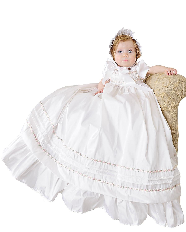 Amazon.com: Jessa 18 Month Heirloom Silk Christening Gown for Girls ...