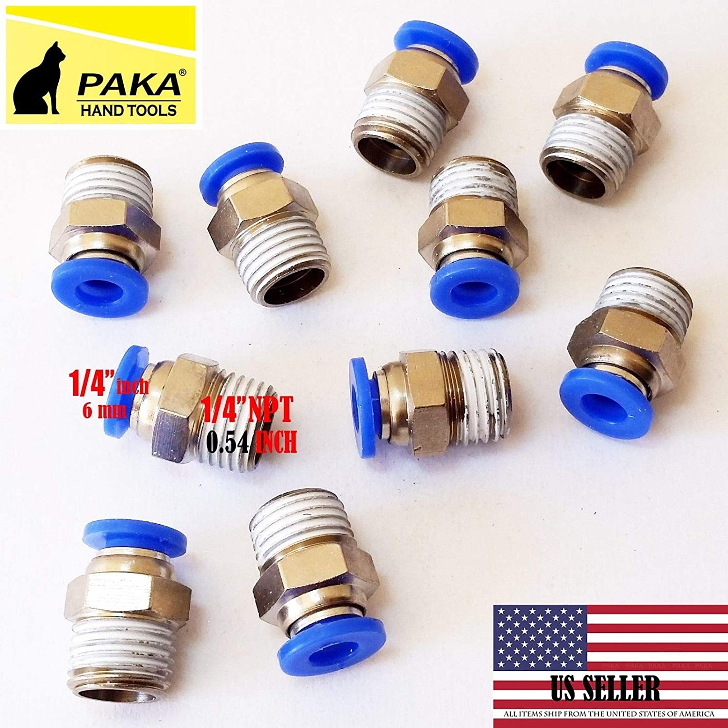 """10pcs 6mm Pneumatic air quick push to connect fitting 1//4/"""" OD straight tube UR"""