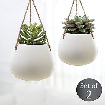 Set aus 2 modernen weiß Keramik Blumentopf zum Aufhängen des ...