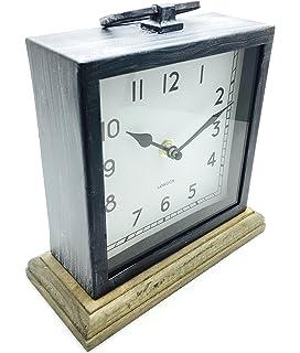 Distressed Square Black Metal Mantel Clock On Wood Base