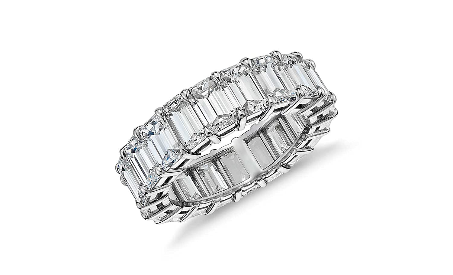 Sterling Silver Emerald Cut Eternity Band Cz Ring - Beautifully Crafted Eternity Ring Emerald Cut Cz Stones NYC Sterling