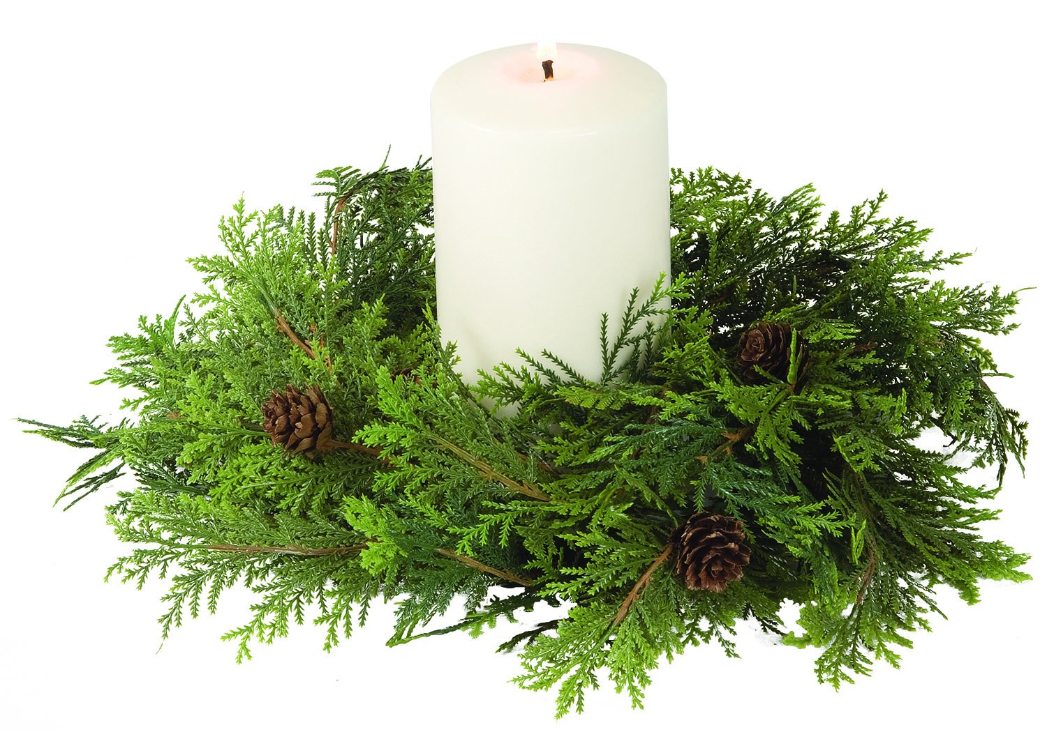 12 Inch Artificial Cypress Pine Christmas Candle Ring With Pine Cones For A 4.5 Inch Pillar Candle by SUL