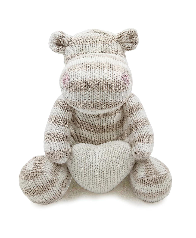 Kiyi-Gift Jouet bébé | Mignon et Doux Jouet en Peluche de Hippopotame | Coton Biologique tricoté Huggable pour bébé / Nourrisson / Tout-Petit