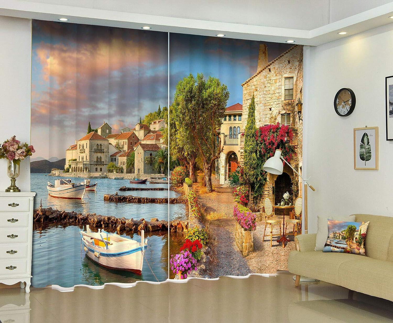 FidgetGear 3D湖畔の家の封鎖は生地のデジタル印刷の窓のカーテンの壁画を垂らします 104X84