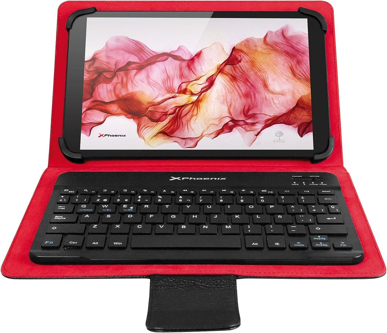 Funda Universal + Teclado Bluetooth Phoenix PHKEYBTCASE9-10+ para Tablet/iPad/EBOOK 9-10 / Super Fina Slim/Teclado con SUJECCION MAGNETICA Negra
