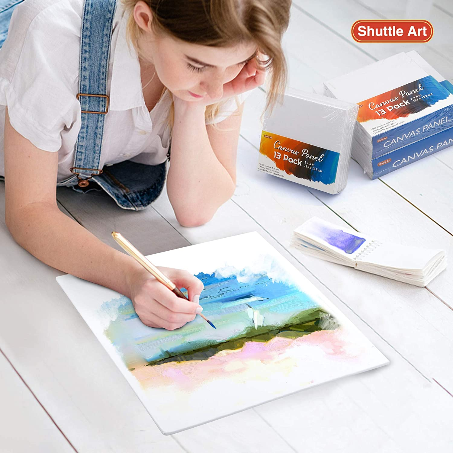 100/% Cotton Art Canvas Board Primed White 52 Multi Pack Blank Canvas for Kids Adults for Acrylic Oil Painting 10x10 inch Shuttle Art Painting Canvas Panel 8x8 5x5 13 PCS of Each 6x6