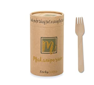 Makaniporium Wooden Disposable Cutlery Set Natural Bamboo Wood - Biodegradable & Eco Friendly - 100 Forks per Pack - Perfect for Gatherings