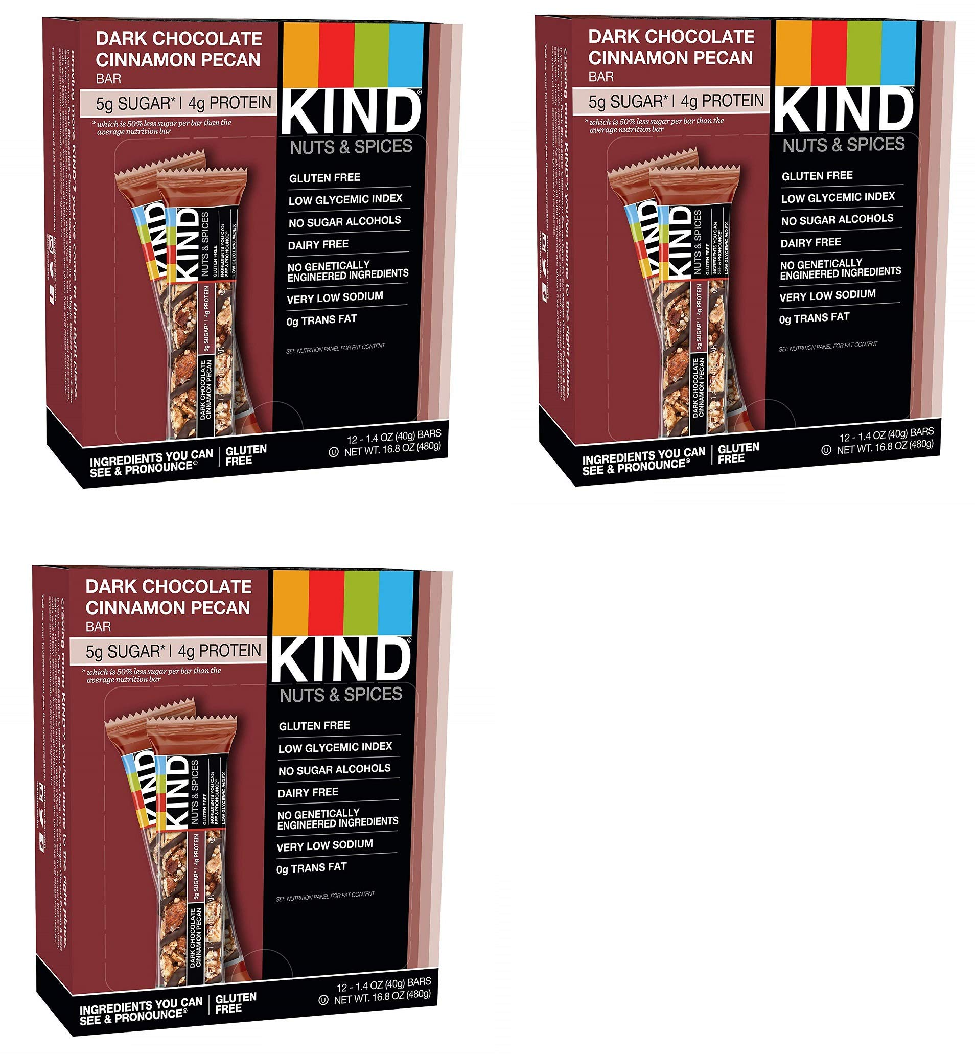 KIND Bars, Dark Chocolate Cinnamon Pecan, Gluten Free, Low Sugar, 1.4oz, 36 Bars