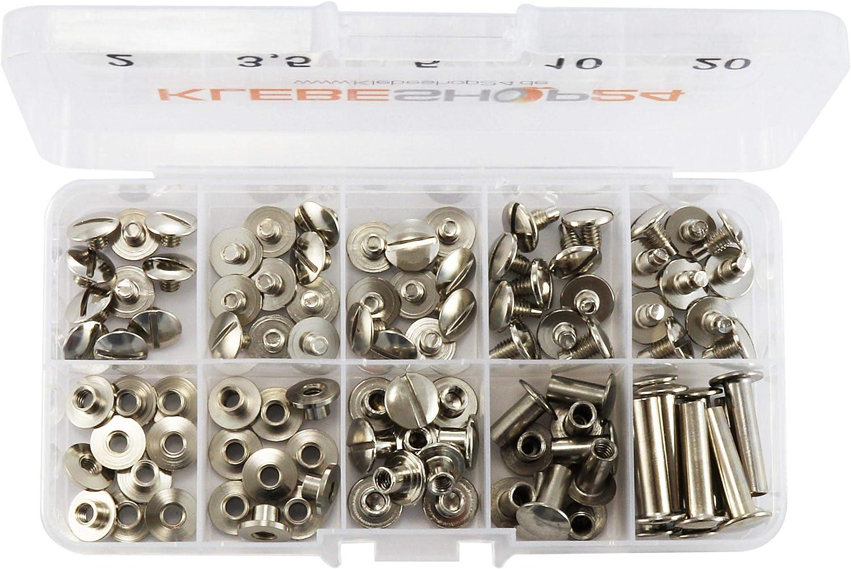 Vermessingt Sortimentsbox mit 5 verschiedenen Gr/ö/ßen 2 bis 20 mm F/üllh/öhe Klebeshop24 Buchschrauben Set Verschiedene Ausf/ührungen //