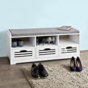 Haotian FSR36-W, White Shoe Storage Bench with Drawers, Drawers & Seat Cushion, Shoe Cabinet Storage Unit Bench