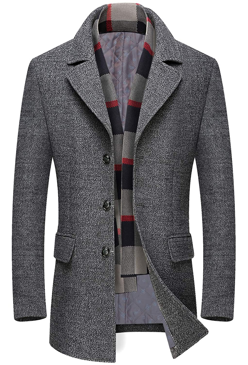 chouyatou Mens Winter Notched Collar Single Breasted Quilted Wool Midi Coats Plaid Scarf