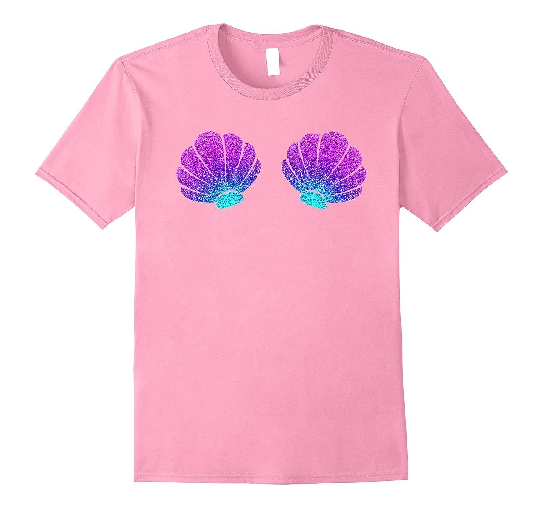 cfd1143e1a751 Womens Top Mermaid Costume Sea Shell Bra Pink T-Shirt Girls-ANZ ...