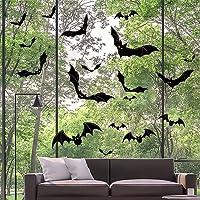 Halloween Vleermuizen Muurstickers, 66 Stuks PVC Vleermuizen Muurstickers Raamstickers Muurstickers voor Huisdeuren…