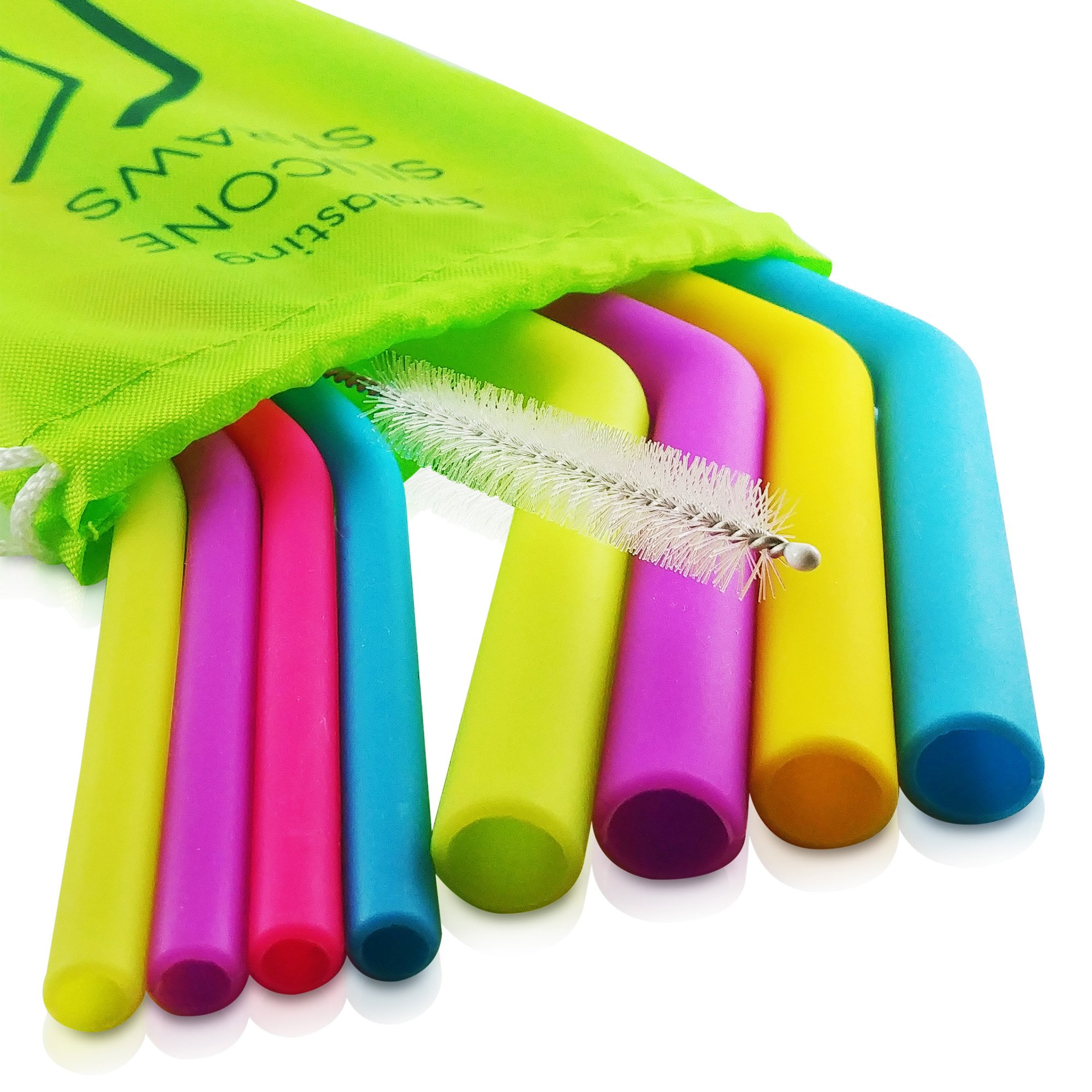 Evalasting Reusable Silicone Straws for Hot or Cold Beverages- FDA Approved Food Grade Silicone, BPA Free - Contains: 4 Thin + 4 Large Long Straw Fits 30 oz Tumbler + Cleaning Brush + Travel Pouch by Evalasting (Image #1)