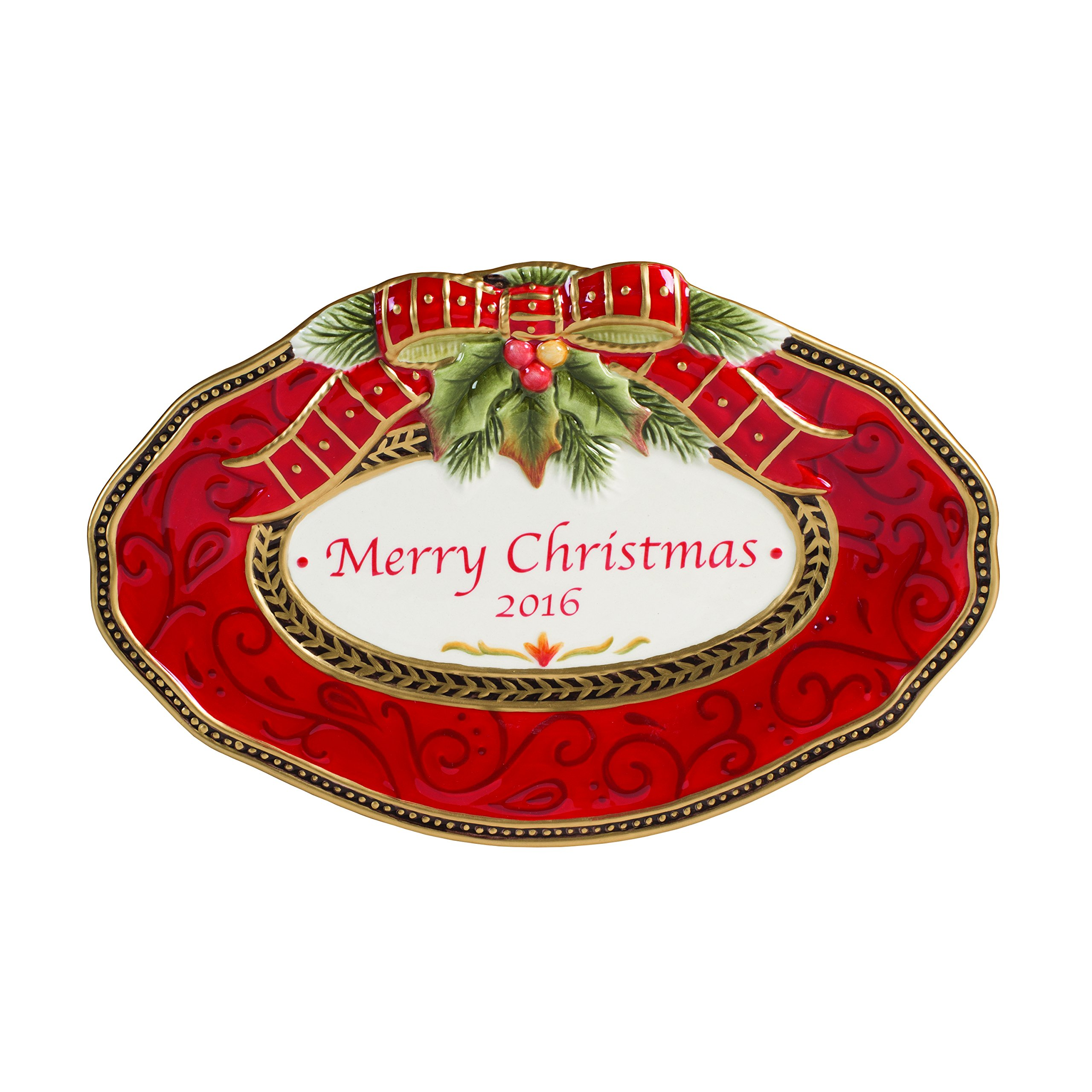 Fitz and Floyd Damask Holiday Collection 2016 Collector's Plate, Vintage Red & Gold