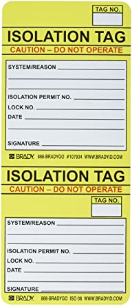 100 Tags ISOLATION TAG INSERTS Brady  ISO-ISO 08