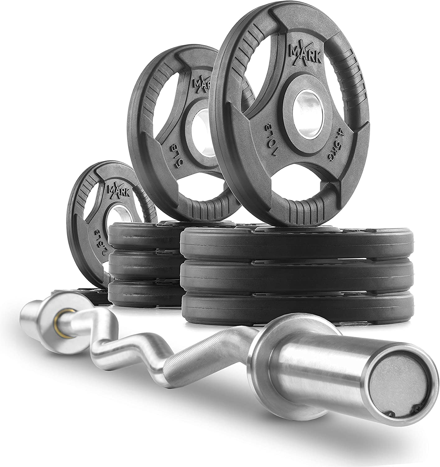 XMark XM-3677 Commercial Hard Chrome Olympic EZ Curl Bar Brass Bushings with Optional Texas Star, Signature or TRI-Grip Olympic Plate Weight Sets, Great for Bicep Curl and Triceps Extension