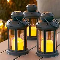 Lights4fun Conjunto de 3 farolillos Gris con Vela