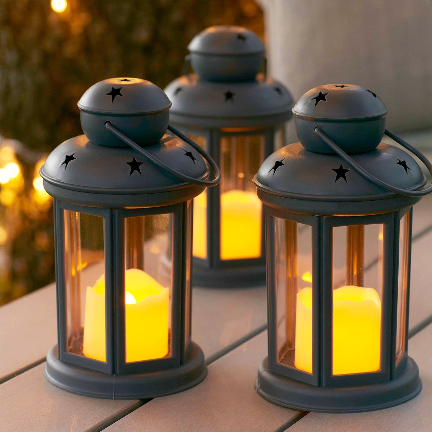 Lights4fun, Inc. Set of 3 Grey Battery Operated LED Flameless Candle Lanterns for Indoor Outdoor Use