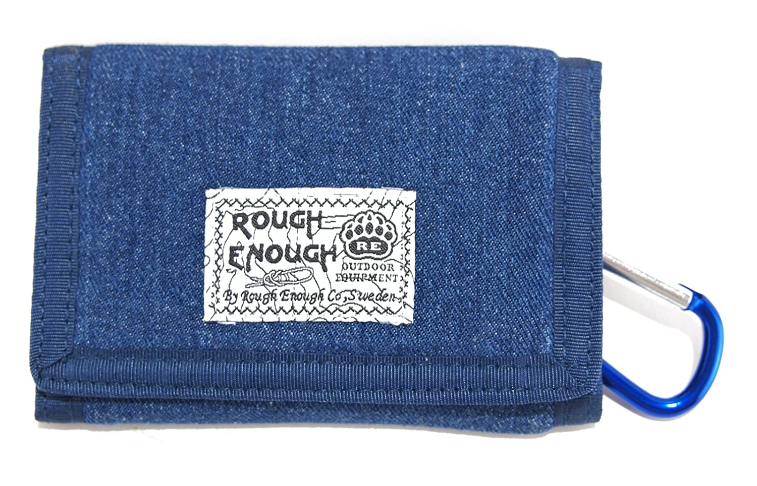 Rough Enough Denim Canvas Vintage Blue Classic Stylish Wallet Purse For Coins Holder Organizer Case With Zippered Pockets Trifold Coin Pocket ROUGH ENOUGH INC. UK-RE8301