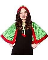 LADIES ELF HOODED CAPE CHRISTMAS FANCY DRESS ACCESSORY