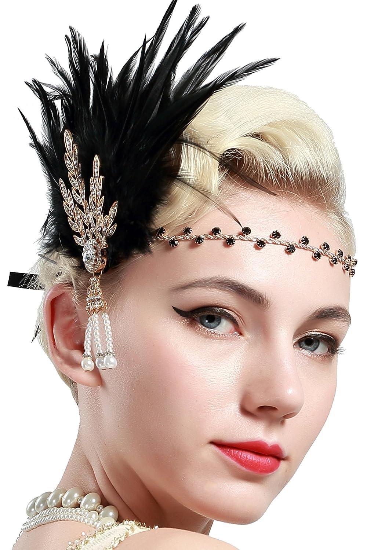 BABEYOND Anillo de la Flapper de los años 20 Anillo de la pluma Gran venda de Gatsby Accesorios de la aleta de los años 20 Desfile del art déco Partido temático