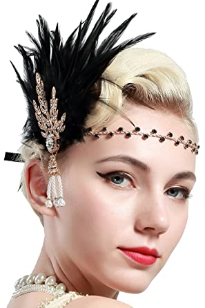 BABEYOND 1920s Flapper Headpiece Feather Headband Great Gatsby Headband  1920s Flapper Accessories Leaves Style for Art 1aae8071582