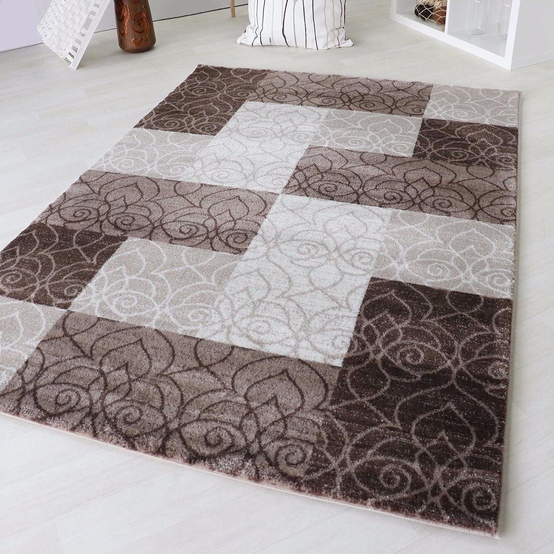 Designer Teppich Modern Kariert Kurzflor Design In Grau Schwarz Weiß und Beige Braun (160 x 230 cm, Beige)