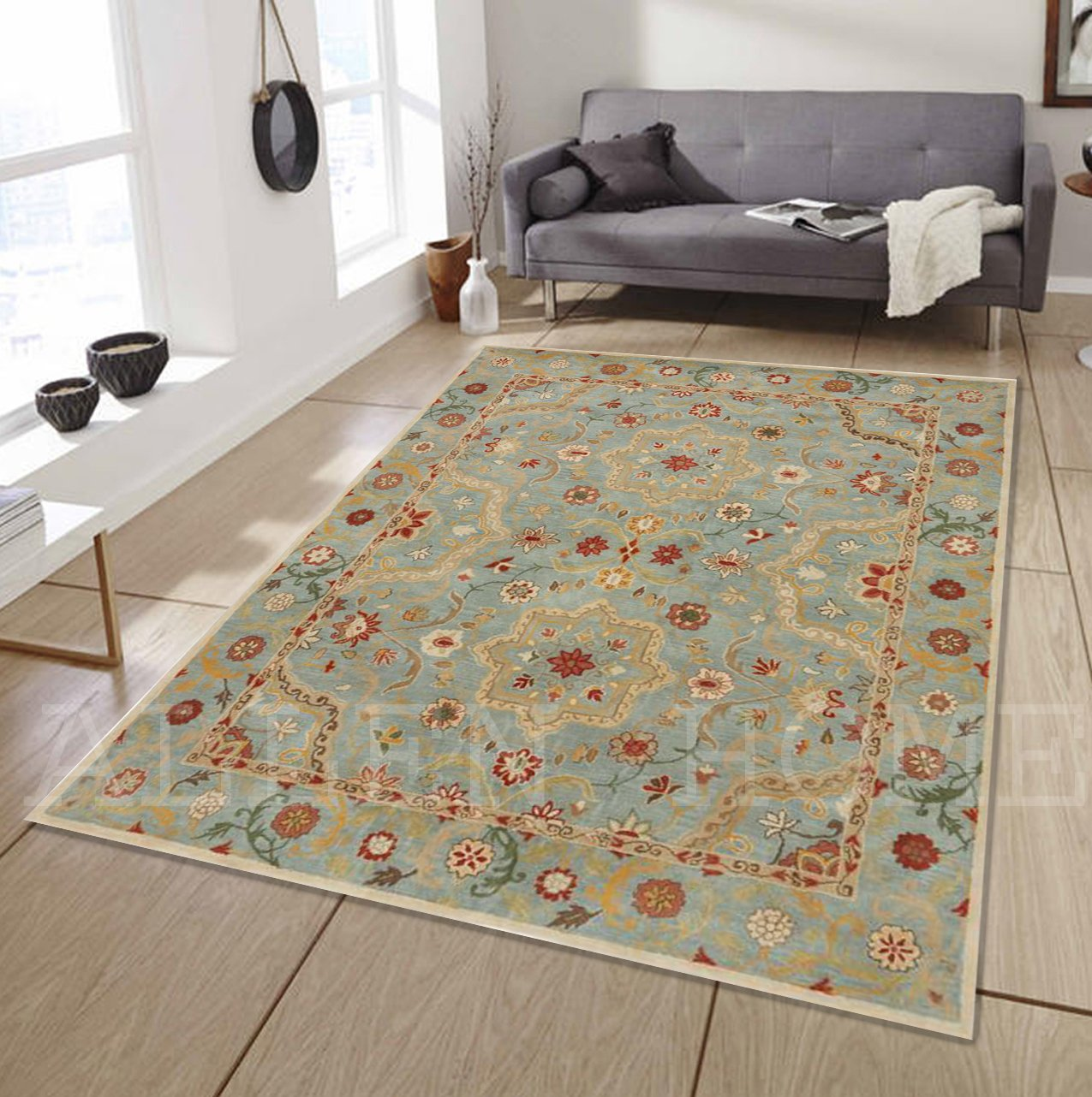 Allen Home Wool Rug 5 X8 Lisa Prcelain Blue Tufted Persian Traditional Wool Rug Carpet