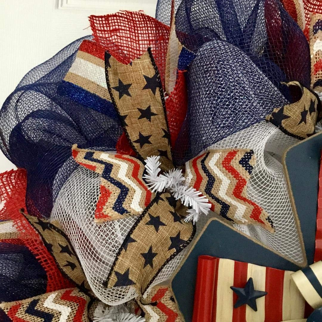 Patriotic Cross Wreath Handmade Deco Mesh