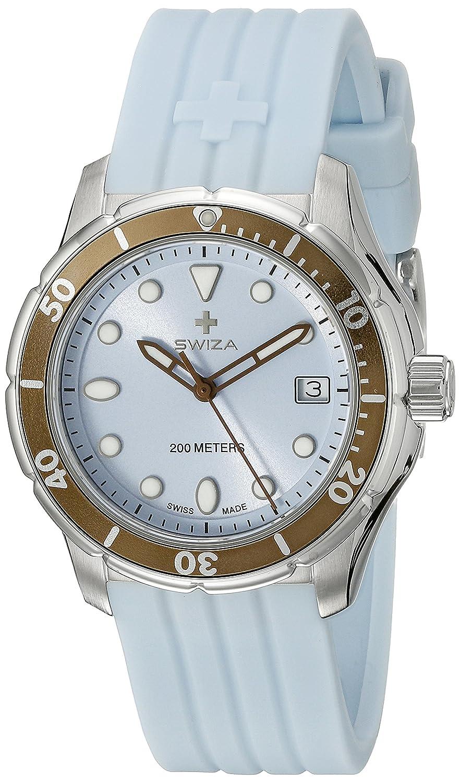SWIZA Tetis Saphirglas Silikon-Armband Luxus Uhr - Hellblau - One Size