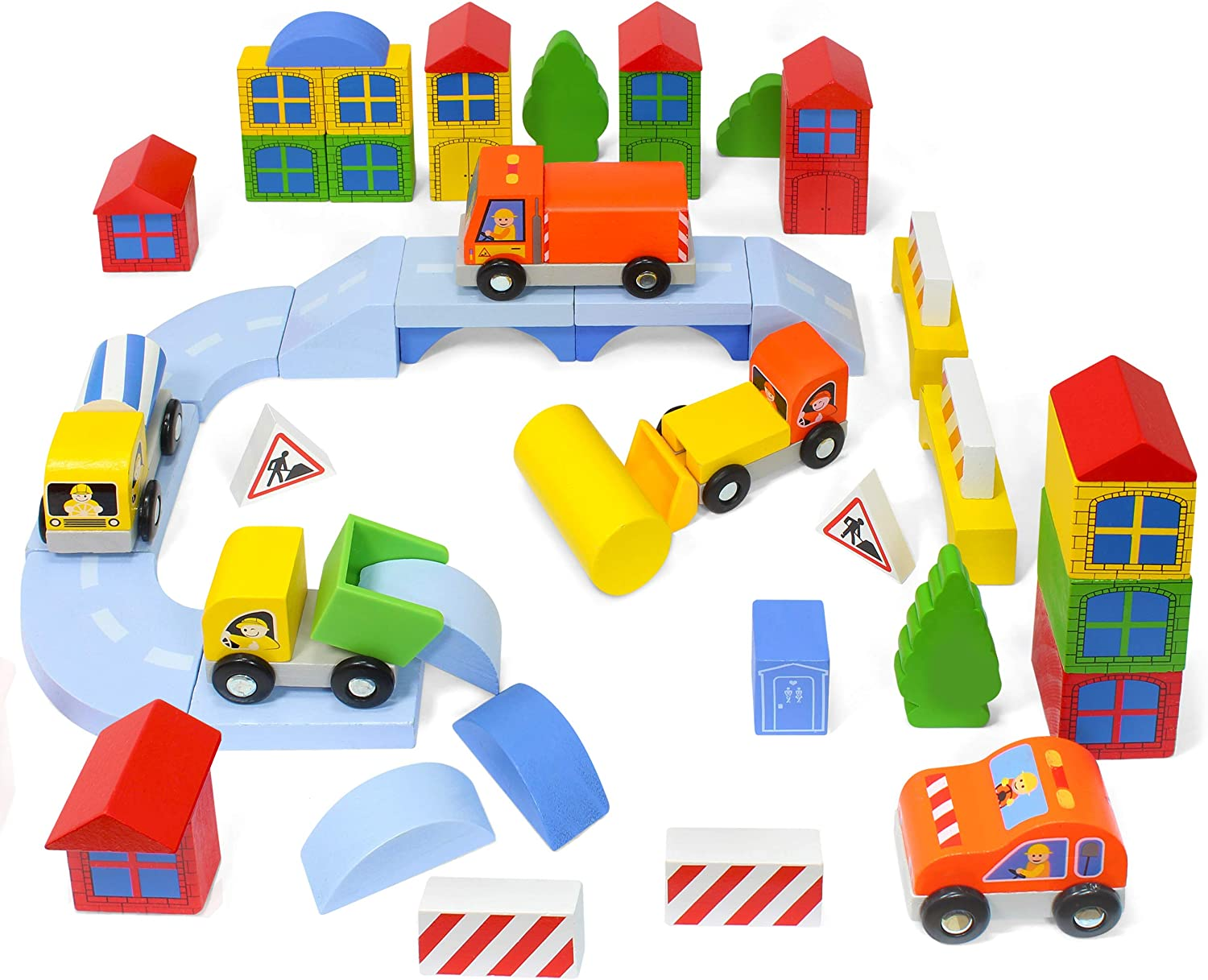 Kidzlane Wooden Construction Site Building Blocks - 50 Pc Wood Block Variety Set with Vehicles, Bridge + More in Storage Bucket - Brightly Painted, Safe & Non-Toxic for Toddlers & Kids Ages 3+