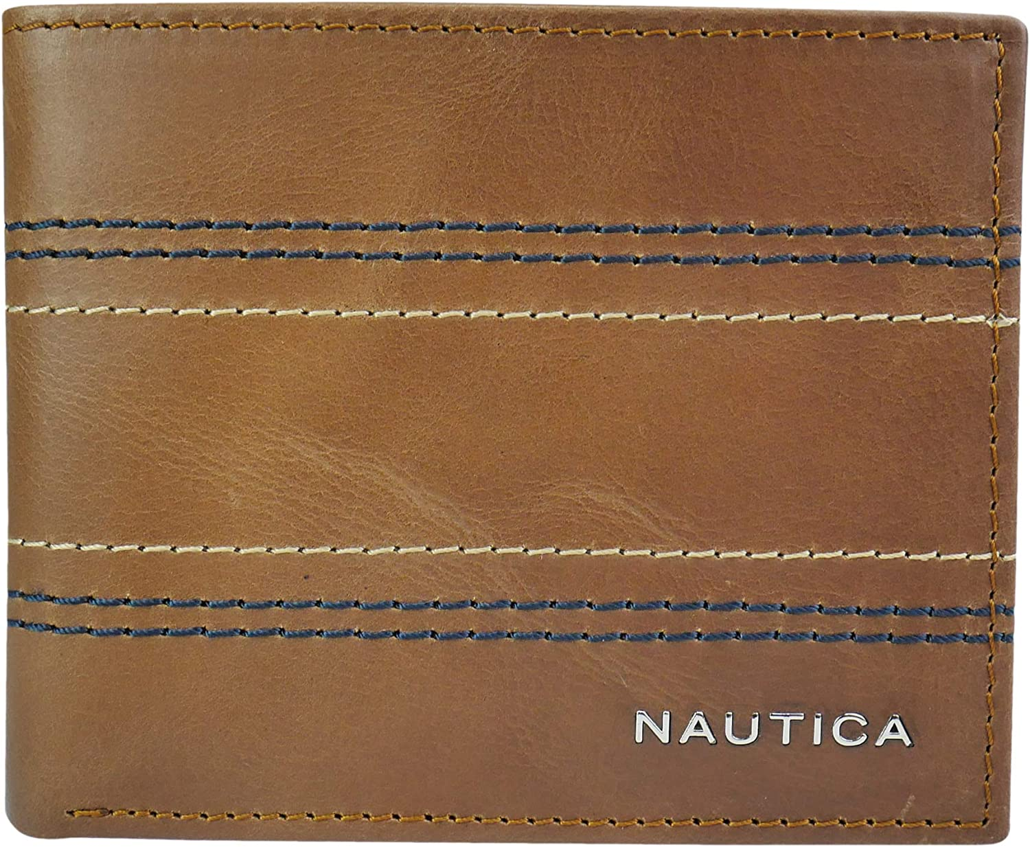 Nautica Mens Leather Wallet RFID Blocking Slim Thin Bifold