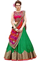 Aarvicouture Women's Crepe Silk Long Cholis Lehenga Choli (Roz_Green_Green_Free Size)